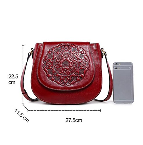 Neu Leder Diagonal Handtaschen Retro Geprägt Satteltasche Mode Umhängetasche Red
