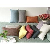 Alta calidad funda de almohada, coliang lino almohada cojín sofá funda de almohada sala de estar Big respaldo hogar almohada sin núcleo rectangular algodón almohada 30x 50cm (con cubo), color verde, azul marino, 30x50CM(No Insert)