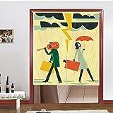 Vorhänge Nordische Cartoon Baumwolle Halb Vorhang Schatten Wind Trennvorhänge Badezimmer Küche Dekoration Vorhänge Ohne Teleskopstange,B-85*120CM