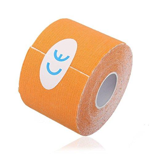 srovfid 1Muskeln Rolle Sport Kinesiologie Wellness Gym Athletic Gesundheit Tape 5m * 5cm, Orange, 5cm*5m (Orange Athletic Tape)