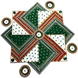 SBD Readymade Designer Auspicious Green Swastik Shaped Rangoli -Beautifully Decorated With Jewel Stone Decorations , Golden Lace & Red And Green Accents -13 Pieces Set - Packed In Crystal Box