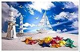 3D Murals Moderne Non-Woven Kunstdruck - Strand Leuchtturm Segelboot - Hd Fotoplakat Tv 3D Hintergrund Büro Wand Dekoratio 400cm(W) x200cm(H)-8 Stripes