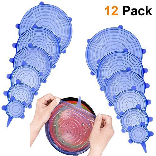 KOLIER 12 Pack Silikondeckel, Dehnbar & Flexibel Deckel In 6 Unterschiedliche Größen für Dosen, Töpfe & Schüsseln, Universal Silikon Deckel