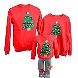 YaoDgFa Ugly Weihnachts Pullover Sweatshirt Weihnachten Xmas Sweater Kapuzenpullover Familie Bekleidung Damen Herren Kinder Weihnachtsmann Schneemann mit Rentier, rot, Male: S
