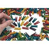 Mini mollette di legno, confezione da 100, colori assortiti