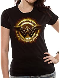 Official Licensed Merchandise DC Comics Justice League Movie Wonder Woman Symbol Womens Fitted T-Shirt Tee