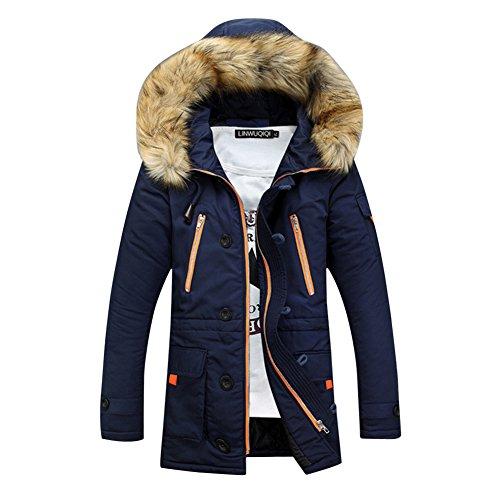SaiDeng Hombres Jacket Invierno Chaqueta Con Capucha El Color Uni Prácticos Bolsillos Armada L