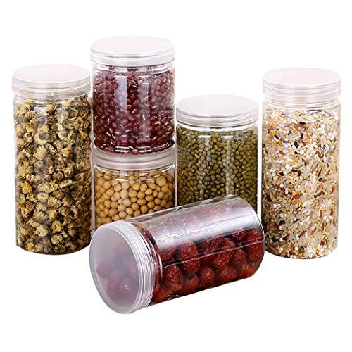 WARMWORD-Plástico de Alimentos Secos Caja de Almacenamiento de La Cocina Dispensador de Contenedores con Tapa Hermética (Transparente, Tanque de almacenamiento 1x)