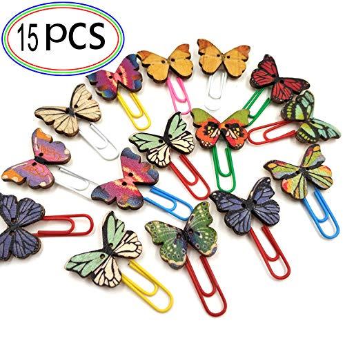 Büroklammern Deko Holz Schmetterling Datei Schellen in Tollem Design Bunte Metall Lesezeichen Super Geschenk Schöne Cartoon Heftklammern für Büro Schule Familie Zufällige Farben 15 PCS