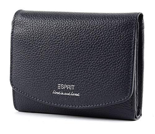 Esprit Damen Geldbörse Geldtasche Portemonnaies Classic citywallet Leder Blau