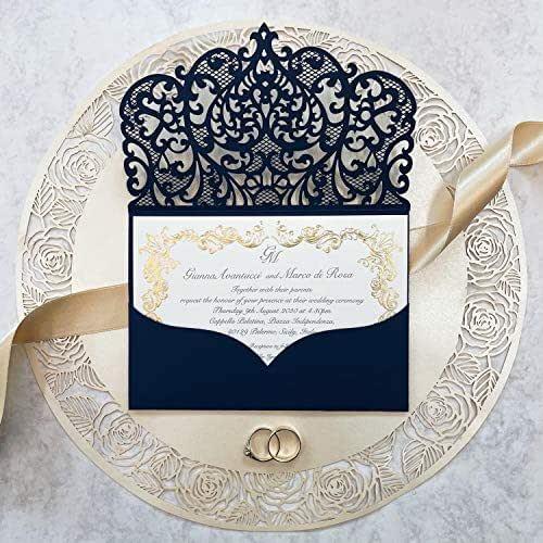 Fai da te apribile taglio laser inviti matrimonio partecipazioni matrimonio blu marino carta con busta - campione prestampato !!