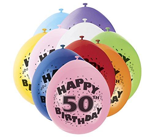 Unique Party Supplies 22,9 cm Latex Ballons, Happy Birthday sortiert 10 Stück