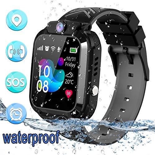 bhdlovely Smartwatch Niños Reloj GPS/LBS a Prueba de Agua - Reloj Infantil Reloj Digital Reloj Despertador SOS Reloj Inteligente para Niños de Edad 3-12 Niño (Negro)