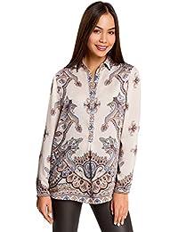 oodji Collection Mujer Blusa de Tejido Fluido con Estampado