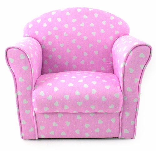 kids childrens pink with white hearts fabric tub chair armchair sofa