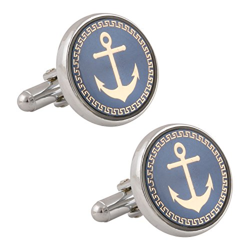 Tripin Silver Brass Cufflinks For Men With A Classic Anchor Design In...
