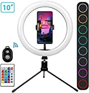 """Innoo Tech Ring Light with Remote Control-10"""" Selfie Ring Light with Tripod Stand, 16 RGB Colors Dimmable"""
