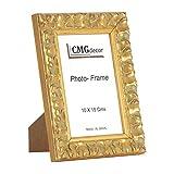 Portafotos de madera de pino CMGdecor con Grabado decorado RF F02 (15 X 20 Cm, ORO)