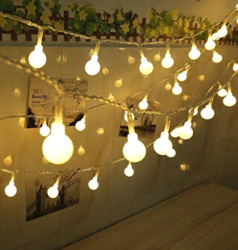Luci halloween 10m 80 led 3 modalità pile della globe luci della stringa per casa birthday party garden festival di nozze di natale al coperto uso esterno (bianco caldo)