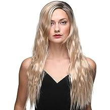 Pelucas rubias largas Peluca onda natural de 22 pulgadas para mujer Cabello Kanekalon sintético premium 180
