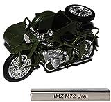 IMZ M72 Ural mit Seitenwagen Grün DDR Atlas Collection 1/24 Modellcarsonline Modell Motorrad mit...