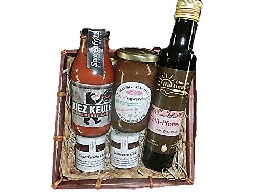 Chili Feuer Geschenkset mit Chili Ketchup Chili Senf Chili Öl Chili Marmelade Chili Honig | gut als Männergeschenk Geschenkkorb für Mann Freund Männer zu Weihnachten zum