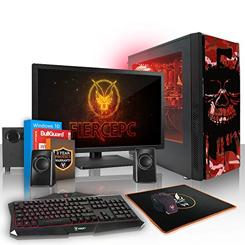 Fierce Phoenix RGB Gaming PC Bundeln - Schnell 4.0GHz Quad-Core AMD Ryzen 3 2300X, 2TB HDD, 16GB, NVIDIA GeForce GTX 1050 2GB, Win 10, Tastatur (QWERTY), Maus, 21.5-Zoll-Monitor, Lautsprecher 519061