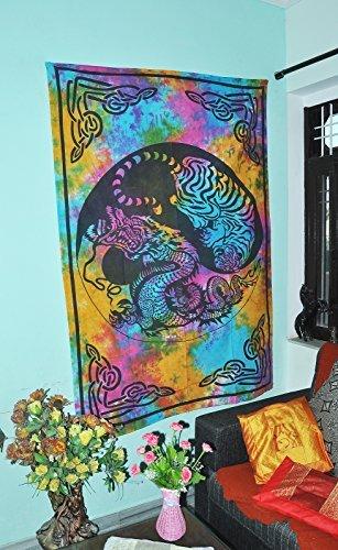Drachen Tiger Tapisserie Twin Tagesdecke Yin Yang Wand Hängende Wandteppiche Dekor Kunst Baumwolle Bettdecke Indische Mandala Tie Die Tapisserie