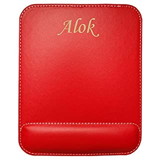 Personalised leatherette mouse pad with text: Alok (first name/surname/nickname)