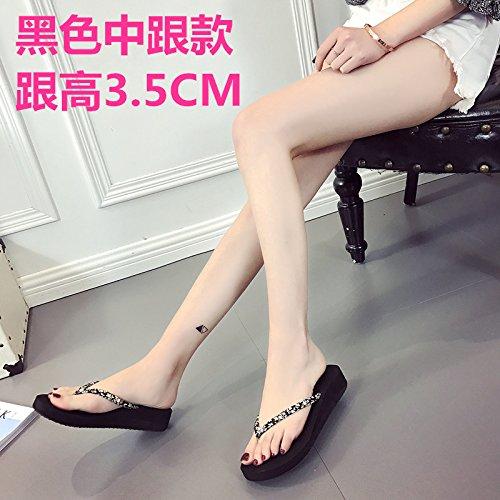 LGK&FA Le Coppie Flip Flop Fondo Piatto Semplice Moda Studenti Indossare Sandali Pantofole Coreano Piatta Con Spiaggia Di Sabbia 39 Marrone Tacchi Alti 6 7 Cm 36 medium heel (black)