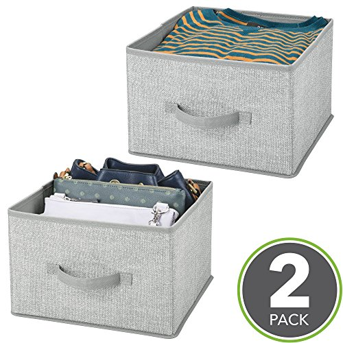 Mdesign set da 2 ceste portaoggetti bagno – parola d'ordine: più ordine, coi contenitori salvaspazio – scatola per armadio in tessuto per la conservazione di capi d'abbigliamento e accessori – grigio