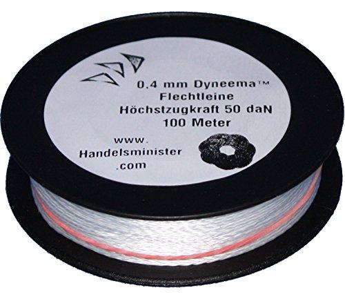 100m - 500m Dyneema Drachenschnur 30daN-500daN weiß 0,3mm-1,8mm sehr dehnungsarm geflochten Einleiner Lenkdrachen, Länge:100m, Durchmesser / Bruchlast:0.4mm 50daN