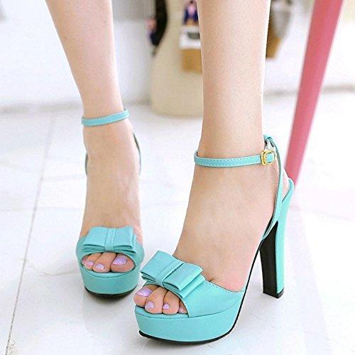 TAOFFEN Femmes Chaussures Mode Bloc Talons Hauts Plateforme Sandales De Bowknot De Sangle De Cheville Bleu