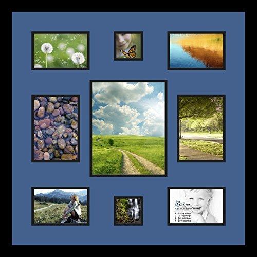 (Art An Rahmen double-multimat-409–836/89-frbw26079Foto Collage Rahmen Doppel Matte mit 1–8X 10und 2–5x 7, 3x 3und 4–4x 6Öffnungen und Satin Rahmen schwarz)