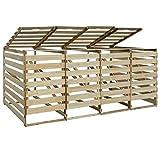 Festnight- Mülltonnenbox für Vier Tonnen Aufbewahrungsbox Holz Garten Mülltonnen Verkleidung Imprägniertes Kiefernholz 240 L