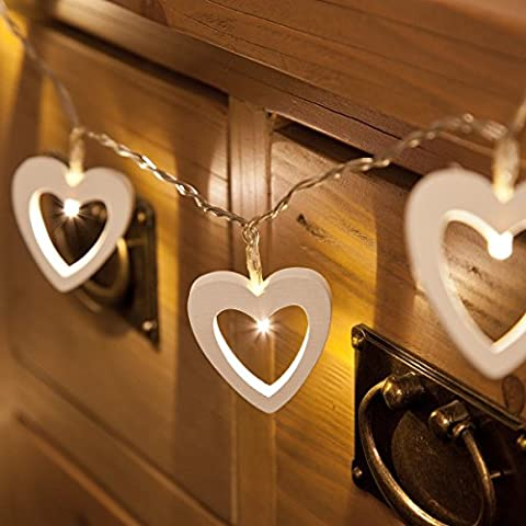 Wooden Shapes - Heart String Lights - Battery Operated - Timer - 10 Warm White LEDs by Festive
