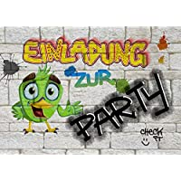 8 Einladungskarten zum Kindergeburtstag für Jungen & Mädchen | Geburtstagseinladungen für Kinder mit Motiv Party | Einladungen zur Geburtstagsparty