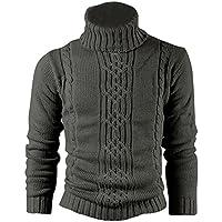 SODIAL (R) Moda cervato impresion en el sueter de lana real algodon para hombre rebeca de lana Gris oscuro - L