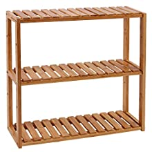 SONGMICS BCB13Y Adjustable Bamboo Shelving Unit 3 Layers Bathroom Shelf Wall Shelving Unit Kitchen Shelf Bookshelf 60 x 15 x 54 cm Natural