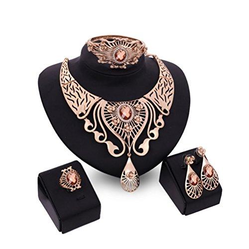 (Pixnor Halskette Ohrringe Armband Ring Set Hochzeit Glas Diamanten Schmuck 4pcs)