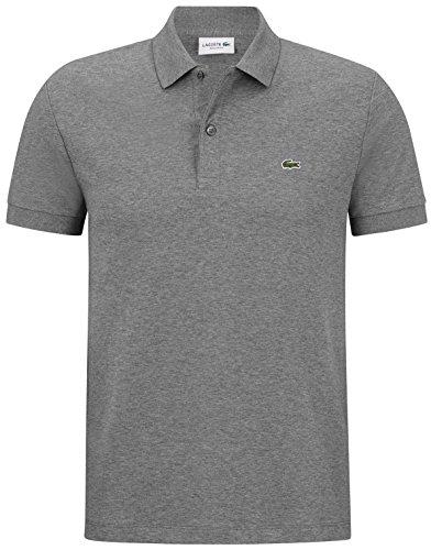 Lacoste DH2050 Klassisches Herren Basic Polo, Polohemd, Polo-Shirt, Kurzarm, Regular Fit, 100% Baumwolle Grau (Galaxite Chine SVY), EU 6 -