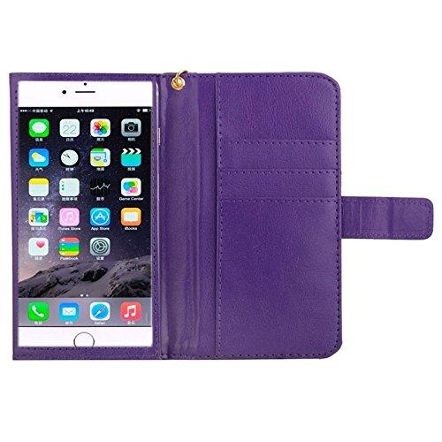 Mobiltelefonhülle - 5,5 Zoll Universal-Crazy Horse Texture Carry Cases mit Touch-Screen-Kette u-Karten-Slots für Samsung-Galaxie S6 Rand / G9250 / S6 / G920 S5 / G9006V / iPhone 6 Plus & 6S plus ( Far Violett
