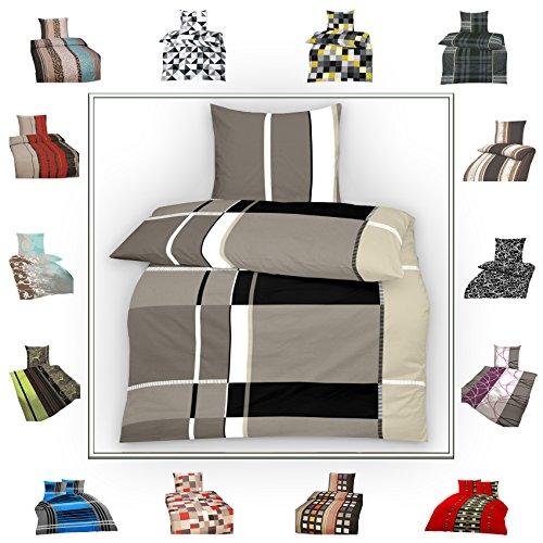 TOP Bettwäsche Garnitur in vielen Qualitäten und Größen mit RV mit über 30 verschiedenen Mustern (Grey Boxer K, 155x220cm Microfaser 2tlg)