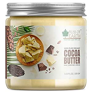Bliss of Earth 100% Pure Organic Cocoa Butter For Stretch Marks | Raw | Unrefined | African | 100GM | Great For Face, Skin, Body, Lips, DIY products|