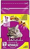 Whiskas Katzen-/Trockenfutter Adult 1+ für Erwachsene Katzen mit Huhn, 7 Beutel (7 x 350 g)