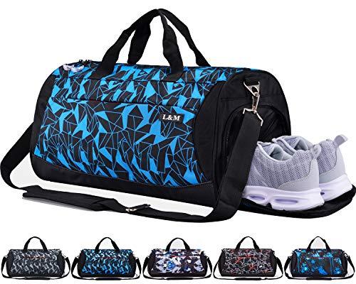 CoCoCoMall Sporttasche mit Schuhfach und Nasstasche, Reisetasche für Damen und Herren L Diamond-Blue -