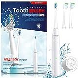Beschoi Cepillo de dientes eléctrico ,Cepillo Eléctrico Dientes Sónico con 5 Modos, Impermeable IPX7, 2 Cabezales de cepillo, Carga magnética USB, Carga de 3 horas durante 30 días para Placa - Blanco
