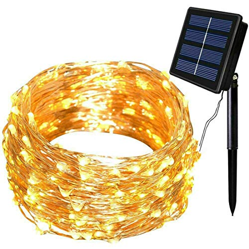 Outdoor Indoor Patio (CCDYLQ-LG Solar String Lights, 300 LED Solar Fee Lichter 98 ft 8 Modi Kupfer Draht Lichter wasserdicht Outdoor String Lights für Garten Patio Weihnachtsbaum Indoor Schlafzimmer (Warm White))