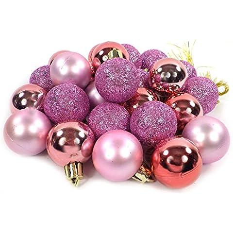 Piccolo Minnie decorazione sfere natale opaco lucido luccicante 24pezzi 3cm, Plastica, rosa-rosa, Taglia unica