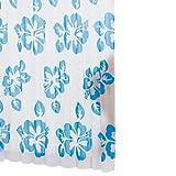 Ridder 323530-350 Duschvorhang Folie inklusive Aufhängeringe 180 x 200 cm Flowerpower, blau